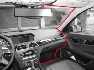 A typical dash cam wiring method and route