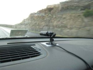 Dash cam mounted on the dashboard